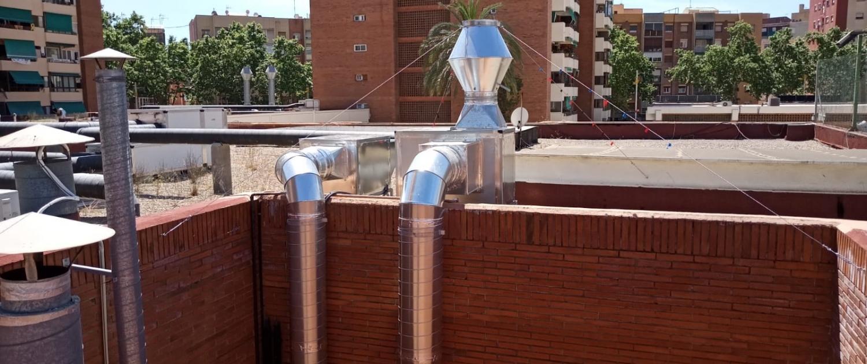 Aportación y extracción de aire contaminado